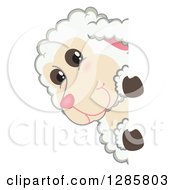 Clipart Of A Happy Lamb Mascot Character Looking Around A Sign Royalty Free Vector Illustration