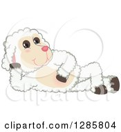 Clipart Of A Happy Lamb Mascot Character Resting On His Side Royalty Free Vector Illustration