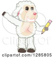 Clipart Of A Happy Lamb Mascot Character Waving And Holding A Pencil Royalty Free Vector Illustration