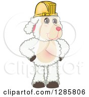 Clipart Of A Happy Lamb Mascot Character Wearing A Hardhat Royalty Free Vector Illustration