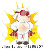 Clipart Of A Super Hero Lamb Mascot Character Over A Burst Royalty Free Vector Illustration