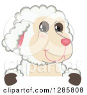 Clipart Of A Happy Lamb Mascot Character Over A Sign Royalty Free Vector Illustration