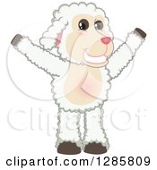 Clipart Of A Happy Lamb Mascot Character Cheering Royalty Free Vector Illustration
