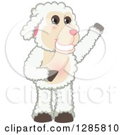 Clipart Of A Happy Lamb Mascot Character Waving Or Presenting Royalty Free Vector Illustration