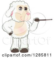 Clipart Of A Happy Lamb Mascot Character Using A Pointer Stick Royalty Free Vector Illustration