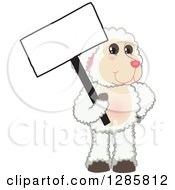 Clipart Of A Happy Lamb Mascot Character Holding A Blank Sign Royalty Free Vector Illustration