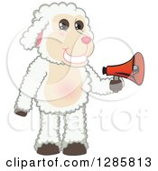 Clipart Of A Happy Lamb Mascot Character Holding An Announcement Megaphone Royalty Free Vector Illustration