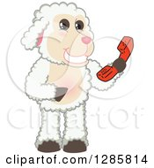 Clipart Of A Happy Lamb Mascot Character Holding A Telephone Receiver Royalty Free Vector Illustration
