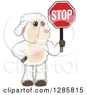 Clipart Of A Happy Lamb Mascot Character Holding A Stop Sign Royalty Free Vector Illustration