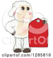 Clipart Of A Happy Lamb Mascot Character Holding A Red Clearance Sales Tag Royalty Free Vector Illustration