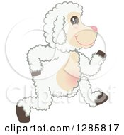 Clipart Of A Happy Lamb Mascot Character Running To The Right Royalty Free Vector Illustration