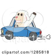 Happy Lamb Mascot Character Waving And Driving A Blue Car
