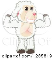 Clipart Of A Happy Lamb Mascot Character Flexing His Muscles Royalty Free Vector Illustration