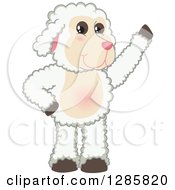 Clipart Of A Happy Lamb Mascot Character Waving Royalty Free Vector Illustration