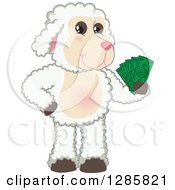 Clipart Of A Happy Lamb Mascot Character Holding Cash Money Royalty Free Vector Illustration