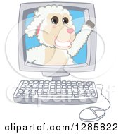 Clipart Of A Happy Lamb Mascot Character Waving From A Computer Screen Royalty Free Vector Illustration