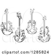 Clipart Of Black And White Floral Guitars Royalty Free Vector Illustration