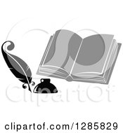 Clipart Of A Grayscale Feather Quill Pen Ink Well And Open Book Royalty Free Vector Illustration