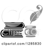 Clipart Of A Grayscale Feather Quill Pen Ink Well And Stack Of Books Royalty Free Vector Illustration