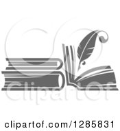 Clipart Of A Grayscale Feather Quill Pen Writing In A Book Or Journal 2 Royalty Free Vector Illustration