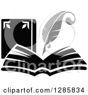 Clipart Of A Grayscale Feather Quill Pen Writing In A Book Or Journal 3 Royalty Free Vector Illustration