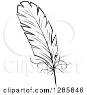 Clipart Of A Black And White Feather 7 Royalty Free Vector Illustration