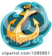 Clipart Of A Golden Ships Anchor With A Turquoise And Teal Splash Royalty Free Vector Illustration