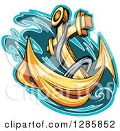Clipart Of A Golden Ships Anchor With A Turquoise And Teal Splash 2 Royalty Free Vector Illustration