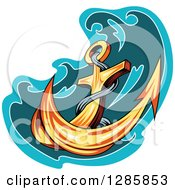 Clipart Of A Golden Ships Anchor With A Turquoise And Teal Splash 3 Royalty Free Vector Illustration