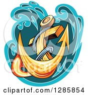 Clipart Of A Golden Ships Anchor With A Turquoise And Teal Splash 4 Royalty Free Vector Illustration