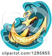 Clipart Of A Golden Ships Anchor With A Turquoise And Teal Splash 5 Royalty Free Vector Illustration