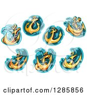 Clipart Of Golden Ship Anchors With Turquoise And Teal Splashes Royalty Free Vector Illustration