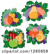 Clipart Of Beds Of Leaves With Fruit Royalty Free Vector Illustration
