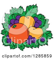 Clipart Of A Bed Of Leaves With Grapes Apricots And An Orange Royalty Free Vector Illustration