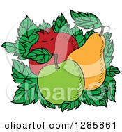 Clipart Of A Bed Of Leaves With A Green Apple Pear And Pomegranate Royalty Free Vector Illustration by Vector Tradition SM