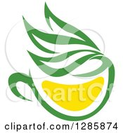 Clipart Of A Green And Yellow Tea Cup With Leaves 9 Royalty Free Vector Illustration