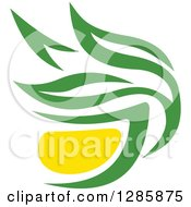Clipart Of A Green And Yellow Tea Cup With Leaves 10 Royalty Free Vector Illustration