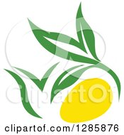 Clipart Of A Green And Yellow Tea Pot With Leaves 5 Royalty Free Vector Illustration