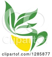 Clipart Of A Green And Yellow Tea Cup With Leaves 7 Royalty Free Vector Illustration