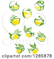 Poster, Art Print Of Green And Yellow Tea Cups And Pots With Leaves 2