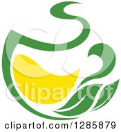 Clipart Of A Green And Yellow Tea Cup With Leaves 8 Royalty Free Vector Illustration