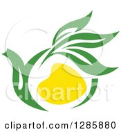 Clipart Of A Green And Yellow Tea Pot With Leaves 4 Royalty Free Vector Illustration