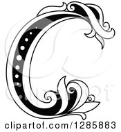 Black And White Vintage Floral Capital Letter C