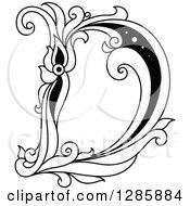 Black And White Vintage Floral Capital Letter D