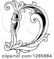 Clipart Of A Black And White Vintage Floral Capital Letter D Royalty Free Vector Illustration