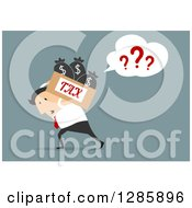 Clipart Of A Confused Businessman Carrying A Box Of Taxes On His Back Over Blue Royalty Free Vector Illustration