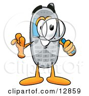 Wireless Cellular Telephone Mascot Cartoon Character Looking Through A Magnifying Glass
