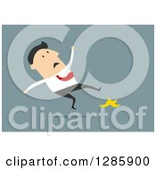 Clipart Of A Businessman Slipping On A Banana Peel Over Blue Royalty Free Vector Illustration