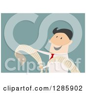 Clipart Of A Businessman Reading A Long Document Or Receipt Over Blue Royalty Free Vector Illustration