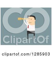 Clipart Of A Flat Desigh White Businessman Viewing Through A Telescope Over Blue Royalty Free Vector Illustration
